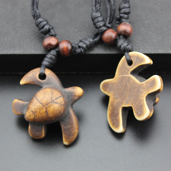 Black Rope Polynesian Turtle Necklace - Turt Vibe