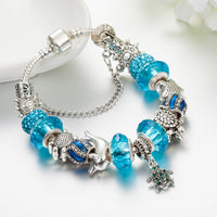 Silver Turtles Charm Bracelets with Crystal Beads - Turt Life
