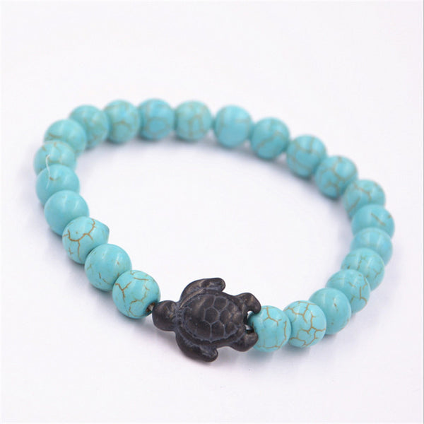 Turquoise Stone Beads with Sea turtle, Bracelet - Turt Vibe