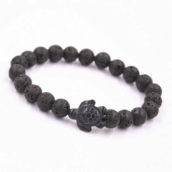 Black Lava Stone Beads with Sea turtle, Bracelet - Turt Vibe