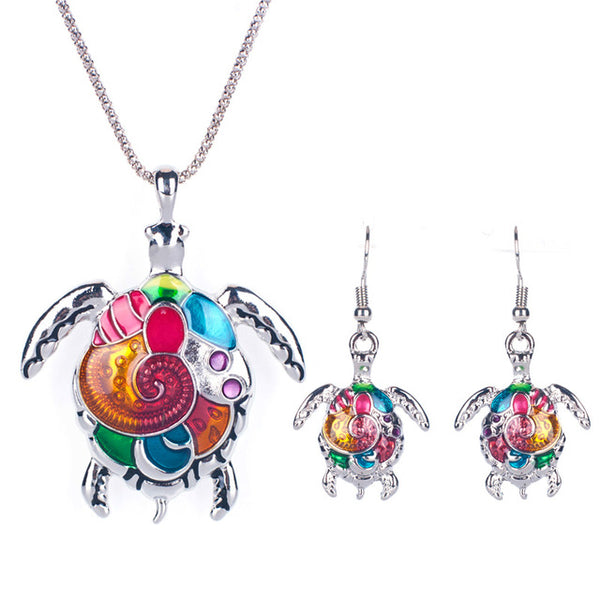 Vivid Enamel Sea Turtle Necklace Earring Set