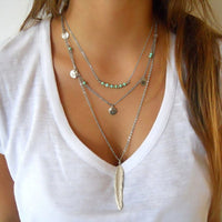 Sea Feather - Multi layer Necklace