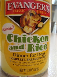 Canned Dog Food, Evanger's Chicken and Rice Dinner Complete Balance Diet