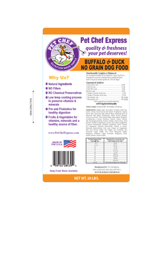 Dog Food, Grain Free Buffalo/Duck Dog Food