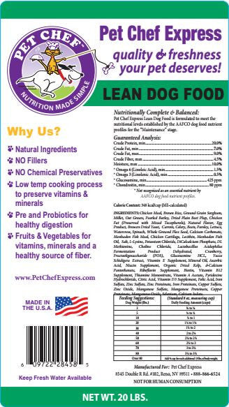 Dog Food, Lean Dog Food