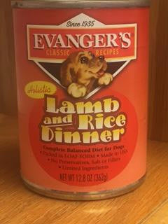 Canned Dog Food, Evanger's Lamb and Rice Dinner Complete Balanced Diet
