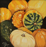 Harvest Gourds Original Unframed or Framed (as shown)