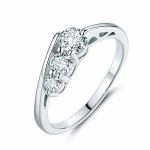 White Gold Triple Rhinestone Ring