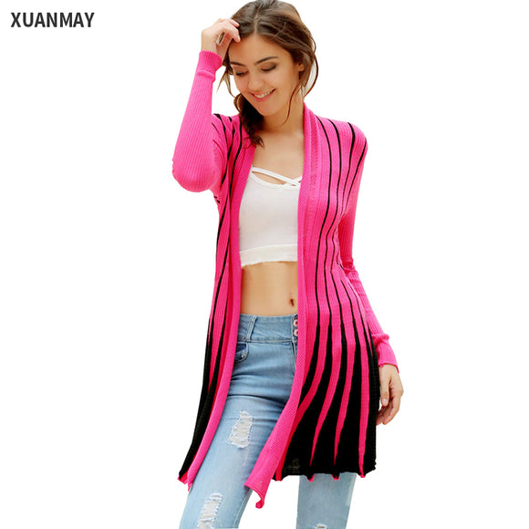 Slim Color Striped knit Cardigan