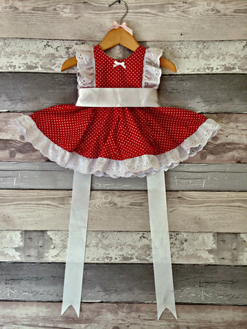 Frilly Lilly Dress - Red polka dot