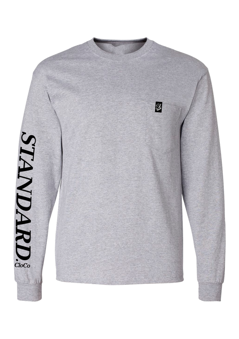 Long Sleeve Pocket Tee - Grey | Traditional - Long Sleeve | StandardCloCo™