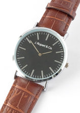 Helsinki - Men's Black Watch Alligator Brown Strap - Close Up