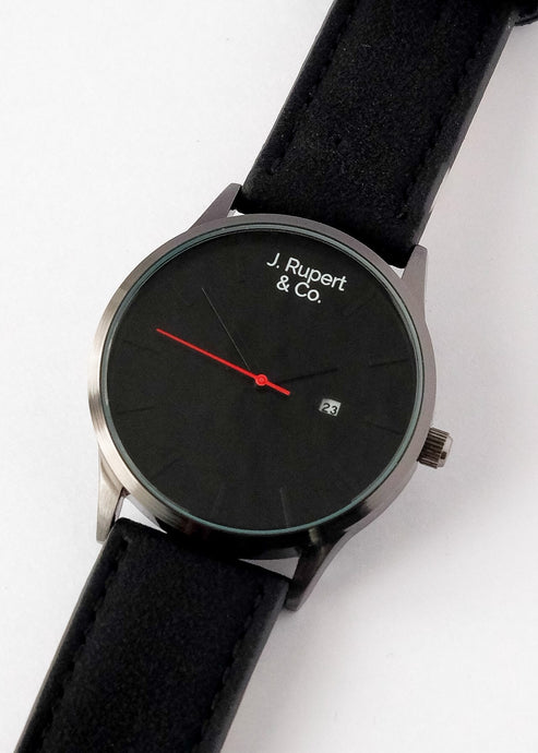 Manchester - Men's Watch With Black Leather Strap - Close Up