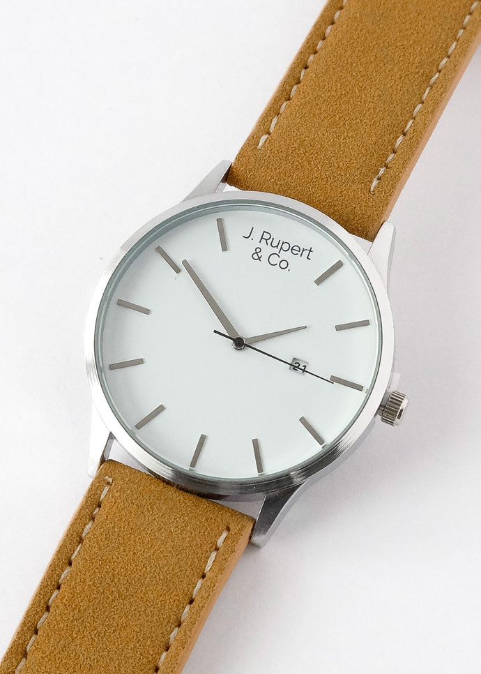 Rotterdam - Men's Watch With Brown Leather Suede Strap - Close Up
