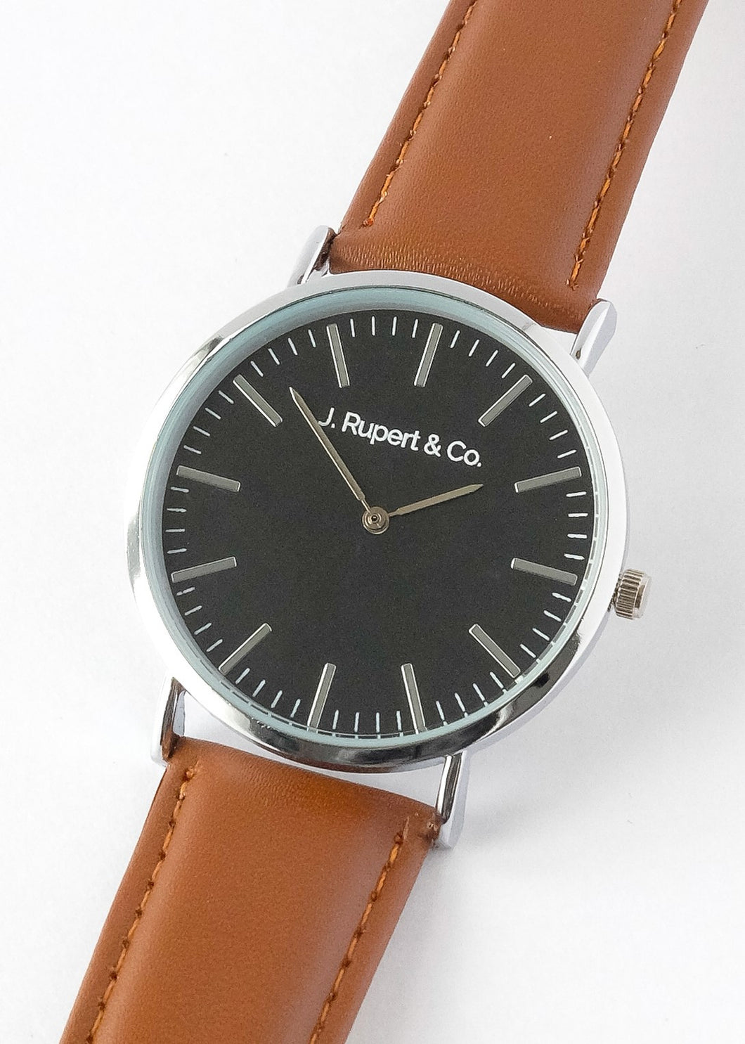 Zagreb - Men's Watch With Brown Leather Strap - Close Up