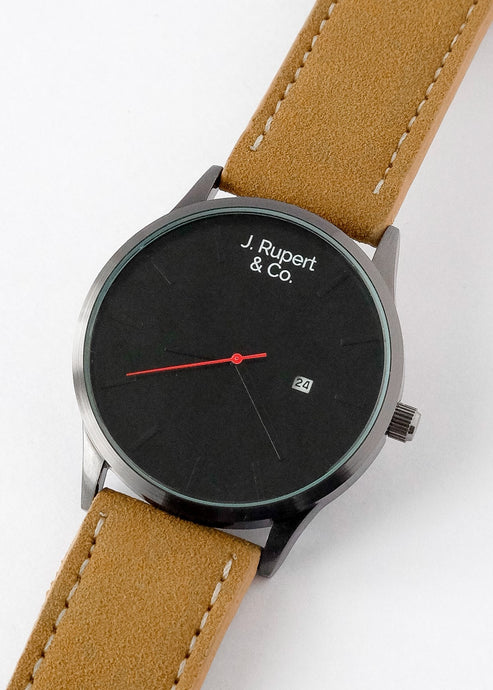 Zurich - Men's Watch With Brown Leather Suede Strap - Close Up