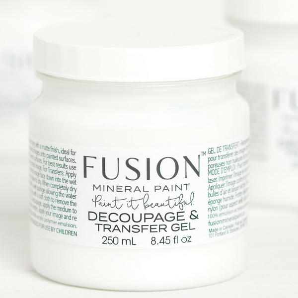 Fusion Decoupage & Transfer gel in a 250ml pot.  | fusionmineralpaint.com