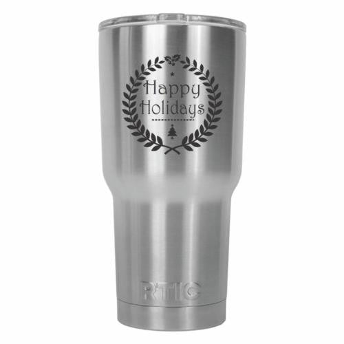 Happy Holidays Wreath RTIC Stainless Steel Tumbler 30oz