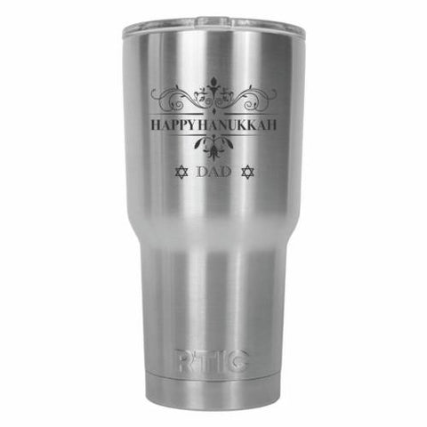 Happy Hanukkah Dad Tradition RTIC Stainless Steel Tumbler 30oz