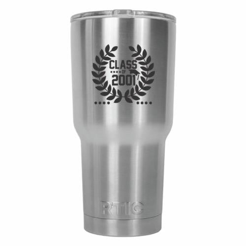Class of 2001 Graduate Crown Design RTIC Stainless Steel Tumbler 30oz