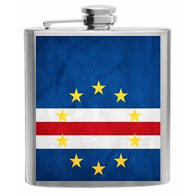 Cape Verde Flag Stainless Steel Hip Flask 6oz
