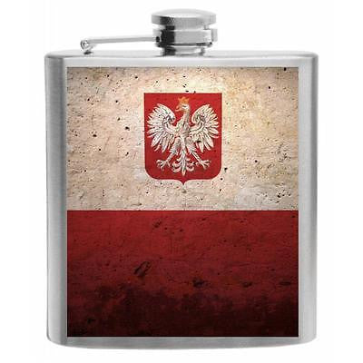 Poland Flag Stainless Steel Hip Flask 6oz