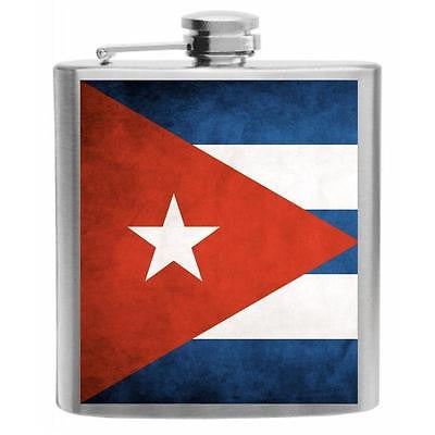 Cuba Flag Stainless Steel Hip Flask 6oz