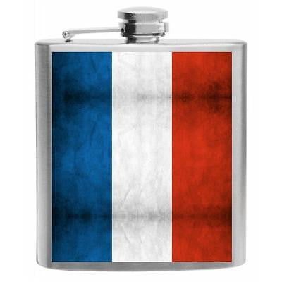 France Flag Stainless Steel Hip Flask 6oz