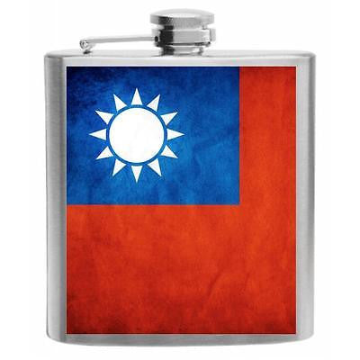 Taiwan Flag Stainless Steel Hip Flask 6oz