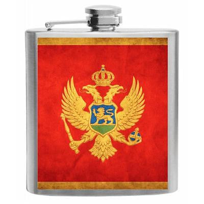 Montenegro Flag Stainless Steel Hip Flask 6oz