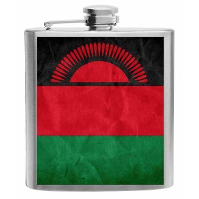 Malawi Flag Stainless Steel Hip Flask 6oz
