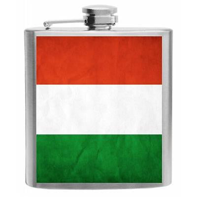 Hungary Flag Stainless Steel Hip Flask 6oz