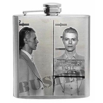 David Bowie Mugshot Stainless Steel Hip Flask 6oz