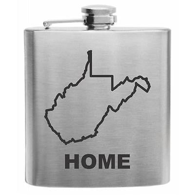 West Virginia Home State Stainless Steel Hip Flask 6oz