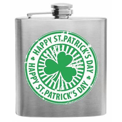Happy St. Patrick's Day Clover Label Stainless Steel Hip Flask 6oz