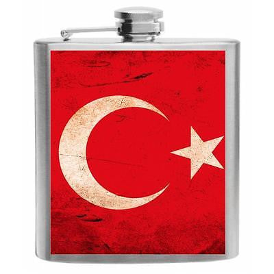 Turkey Flag Stainless Steel Hip Flask 6oz
