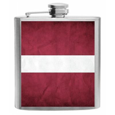 Latvia Flag Stainless Steel Hip Flask 6oz