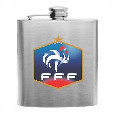 France Football Stainless Steel Hip Flask 6oz