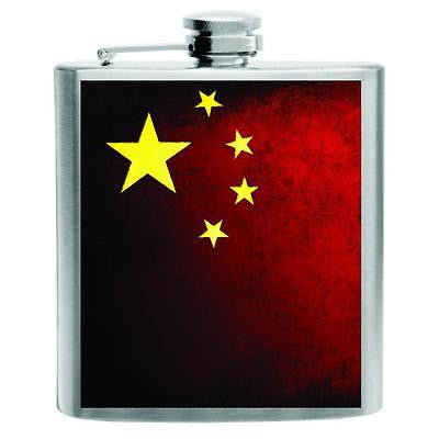 China Flag Stainless Steel Hip Flask 6oz