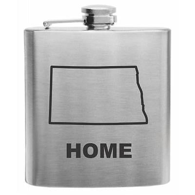 North Dakota Home State Stainless Steel Hip Flask 6oz