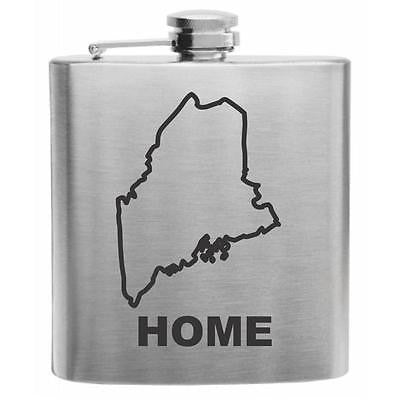 Maine Home State Stainless Steel Hip Flask 6oz