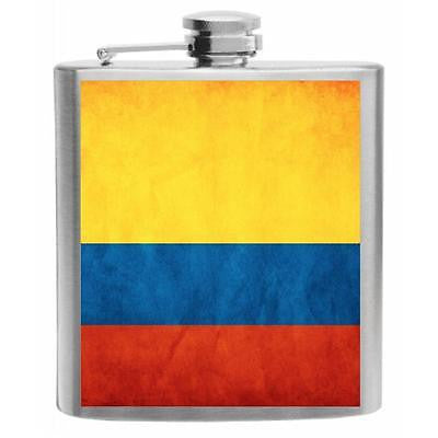 Colombia Flag Stainless Steel Hip Flask 6oz