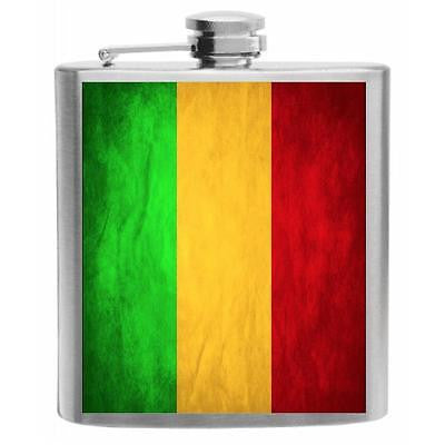 Mali Flag Stainless Steel Hip Flask 6oz