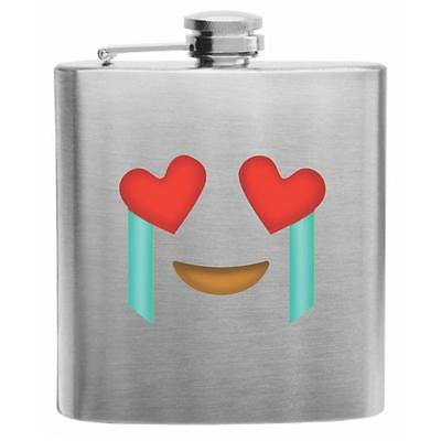 Emoji Crying Face Stainless Steel Hip Flask 6oz