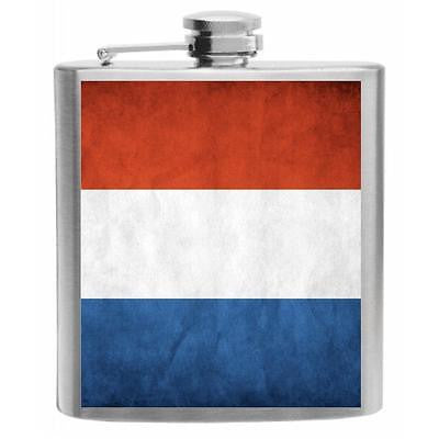 Netherlands Flag Stainless Steel Hip Flask 6oz