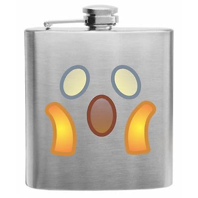Emoji Face Screaming in Fear Stainless Steel Hip Flask 6oz