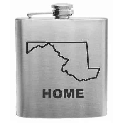 Maryland Home State Stainless Steel Hip Flask 6oz