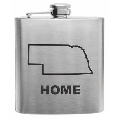 Nebraska Home State Stainless Steel Hip Flask 6oz