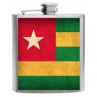 Togo Flag Stainless Steel Hip Flask 6oz