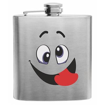 Emoji Funny Face Stainless Steel Hip Flask 6oz